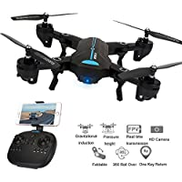 Littleice Mini A6 Foldable RC Quadcopter Drone Remote Control Helicopter Toys With Wifi FPV HD Camera 2.4G 6-Axis (Non-Wide Angle)