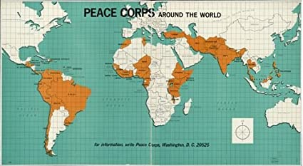 Peace Corps Map Amazon.com: 1966 Map Peace Corps around the world.   Size: 14x24