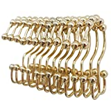 TOAOB 12 Piece Easy Install Rustproof Gold Shower Curtain Hooks Stainless Steel Metal Double Glide Shower Rings for Bathroom Curtains and Liner Rods