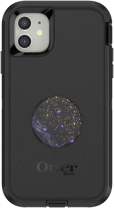 Otter + Pop for iPhone 11: OtterBox Defender Series Case with PopSockets Swappable PopTop - Black and Milky Daze