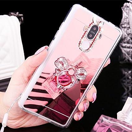 Custodia Huawei Honor 6X, Cover Huawei Honor 6X, KunyFond Specchio Bling Custodia in Silicone, Custodia in Silicone TPU Custodia a Specchio Custodia Brilliant Glitter Custodia Diamante per Donna Ragazza Custodia in Gel Trasparente Ultra Sottile Cristallo C