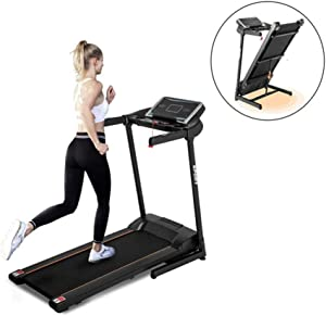 Electric Folding Treadmill with Transport Wheel,3 Exercise Modes & 12 Automatic Exercise Programs, Incline Portable Motorized Running Machine with Speakers