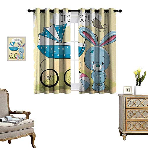 Anyangeight Gender Reveal Blackout Window Curtain Cute Bunny Baby Carriage and Ball Its Boy Message Kids Design Customized Curtains W55 x L72 Avocado Green and Blue (Bunny Pattern Hill Quilt Designs)