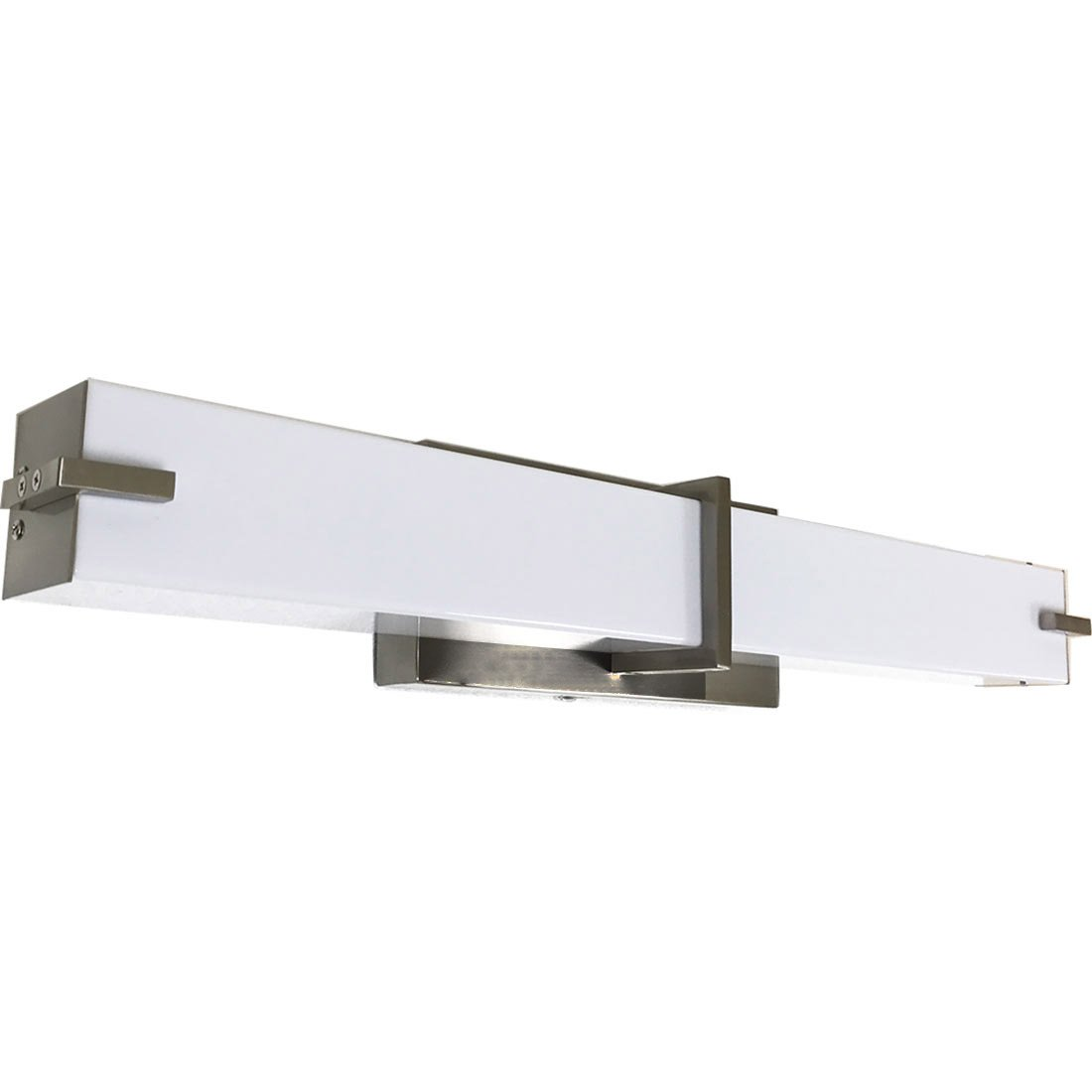 NEW Squared Modern Frosted Bathroom Vanity Light Fixture | Contemporary Sleek Dimmable LED Rectangular Bar Design | Vertical or Horizontal 24'' Lighting Brushed Nickel Wall Sconce | 3000K Warm White by Hamilton Hills