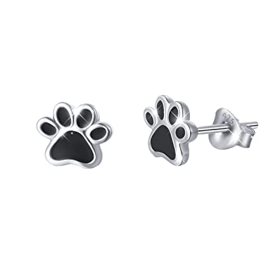 5b9bf7fd0 DAOCHONG S925 Sterling Silver Puppy Dog Cat Pet Paw Print Stud Earrings  Birthday Gifts for Pet Lovers: Amazon.co.uk: Jewellery