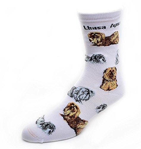 - Lhasa Apso Socks Poses 2,White,Medium