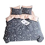 VClife Floral Duvet Cover Sets Hotel Quality Boho Flower Bedding Sets, Reversible Branches Leaves Tree & Geometric Wave Pattern for Kids Girls- 1 Duvet Cover 2 Pillowcases, 200 TC, Ultra Soft, Twin