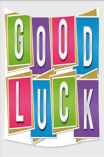 Nalahome-Going Away Party Decorations Colorful Vibrant Blocks with Letters Saying Good Luck Modern Multicolor Tapestry Wall Hanging Wall Tapestries 80L x 59W Inches
