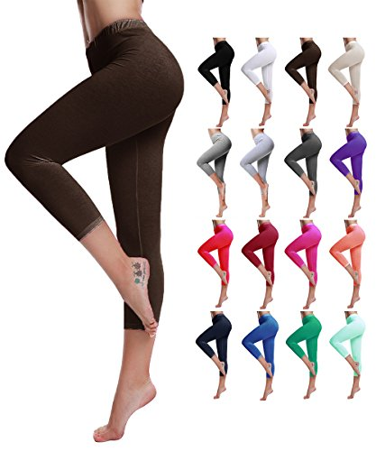 Capri Brown Apparel (Diamond keep it Women's Cotton Capri Cropped Leggings Pants - Variety of Colors (Small-2-4, Brown))