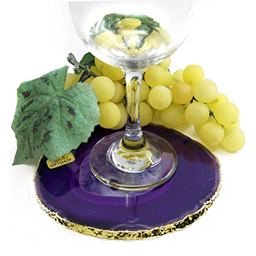The Royal Gift Shop Authentic Brazilian Agate Slice with 24K Gold Plated Rim - Protective Rubber Bumpers. Purple (5
