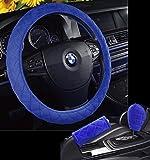 U&M Car Steering Wheel Cover, Soft Velvet Feel Car Steering Wheel Cushion Protector Handbrake Cover & Shift Gear Cover Set Universal for 15 inch,Better Grip, Anti-skid & Breathable