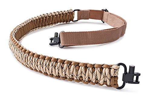 SREMMOS TM Two Point Rifle Sling with Swivels, Heavy Duty Gun Sling, Paracord Sling for Rifle, Multiple Colors (Brown and Beige Camo)