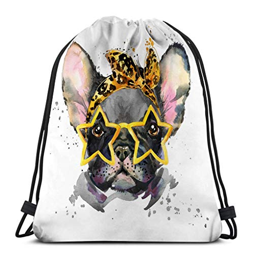 Drawstring Bundle Bag Sport Backpack Travelling Bag For Everyone watercolor puppy dog french bulldog breed cute unusual Geometric (French Bulldog Puppies For Sale In Canada)
