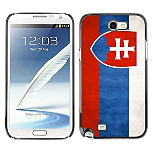 Shell-Star ( National Flag Series-Slovakia ) Snap On Hard Protective Case For Samsung Galaxy Note 2 II / N7100