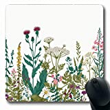 Tobesonne Mousepads Flower Boho Floral Border Herbs Wild Flowers Graceful Botanical Engraving Vintage Classic Spring Oblong Shape 7.9 x 9.5 Inches Non-Slip Gaming Mouse Pad Rubber Oblong Mat
