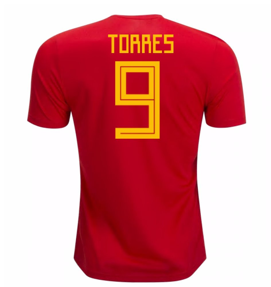 2018-19 Spain Home Football Soccer T-Shirt Trikot (Fernando Torres 9) - Kids