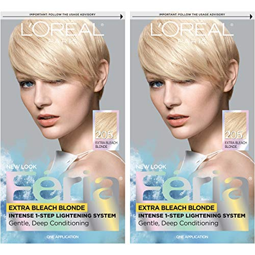 L'Oreal Paris Feria Multi-Faceted Shimmering Permanent Hair Color, 205 Bleach Blonding (Extra Bleach Blonde), Pack of 2, Hair Dye