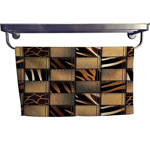 Safari Print Towel Set Jeans Denim Patchwork in Safari Style Wilderness Stylized Design Art Print Hand Towels W 14
