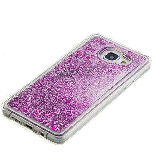 Trumpshop Smartphone Carcasa Funda Protección para Samsung Galaxy A5 (2016) + Smile + TPU 3D Liquido Dinámica Sparkle Estrellas Quicksand Resistente a arañazos Caja Protectora Púrpura
