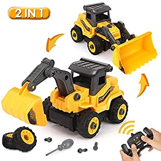 BeebeeRun Take Apart Construction Toys - Remote Control Construction Truck - 2 in 1 RC Take Apart Construction Vehicles - Excavator and Bulldozer Toys for Boys, Gift for 3 4 5 Year Old Boy & Kid