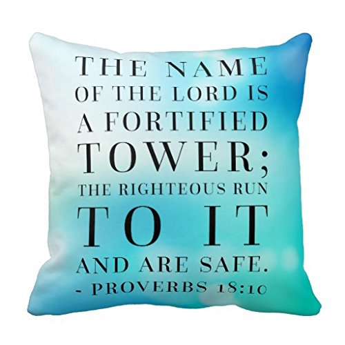 Proverbs 18 10 Bible Quote R4de63dd03f804a459d41f531b19b75b9 I5fqz 8byvr Pillow Case 18″ * 18″