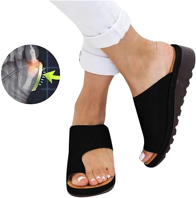 Sandals /à Plateforme Confortables,Semelle Souple en Cuir PU /à Anneau dorteil,avec Toe Arch Support,Chaussures de Voyage Summer Beach correcteur orthop/édique pour oignons pour Femmes
