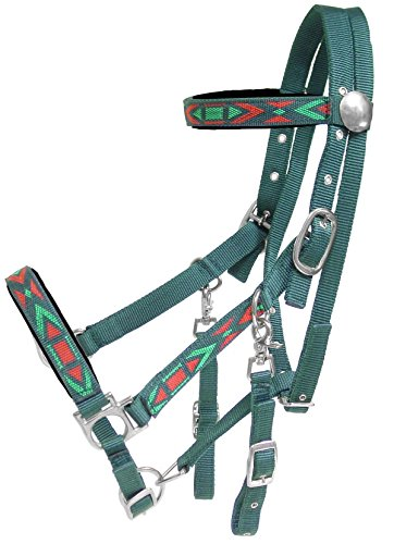 Derby Originals Padded Nylon Halter Bridle Draft Combo with Reins Aztec, Hunter Green ()