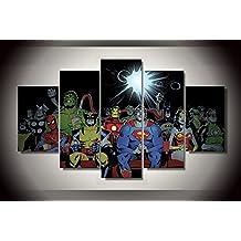 Batman Superman Spiderman Wonderwoman Thor Iron man Captain America print canvas poster decoration 5 pieces