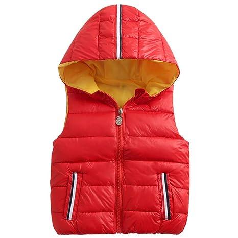 Chalecos para Niños Chaqueta abajo Sin Mangas Chaquetas Chaleco con capucha y cremallera Outwear Abrigos 2