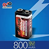 9V 800mah USB Lithium Rechargeable Battery