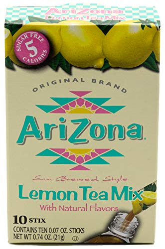 Arizona Lemon Iced Tea Stix Sugar Free, 10Countper Box (Pack of 6), Low Calorie Single Serving Drink Powder Packets, Just Add Water for a Deliciously Refreshing Iced Tea Beverage ()