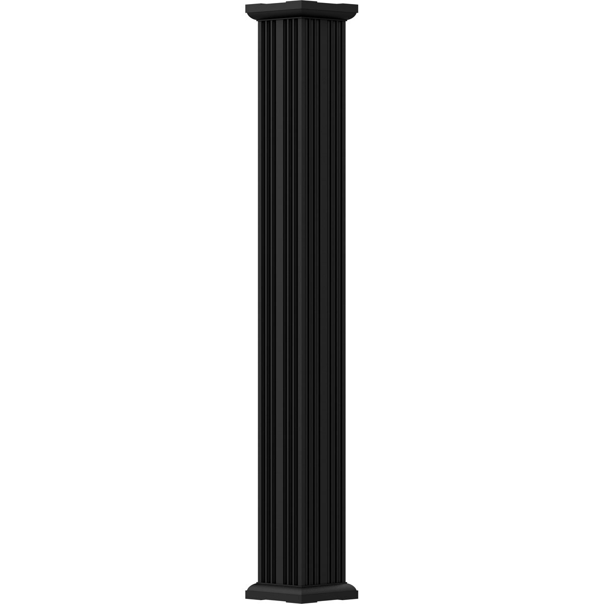AFCO EA0409ENFSPTUTU 4' x 9' Endura-Aluminum Column, Square Shaft (Load-Bearing 12,000 lbs), Non-Tapered, Fluted, Primed, Ready For Paint w/ Capital & Base
