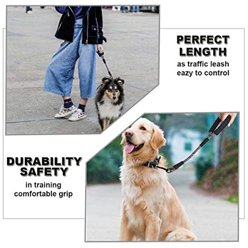 "Mycicy Short Dog Leash- 18 Inch Rope Traffic Leash with Padded Handle- 1/2"" Strong Nylon Tab Leash for Medium Large Dogs Training Walking"