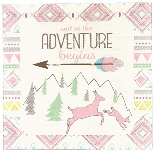 Havercamp Adventure Begins 16 Pack Girls Luncheon Napkins Paper - Tribal Adventure Begins Pattern Square Disposable Lunch Napkins for Baby Showers, Gender Reveal & Birthday Party Supplies        ()
