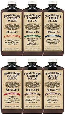 Chamberlain's Leather Milk - Nr. 1-6 Lederpflege-Komplettset mit 6 Flaschen - Lederreiniger, Conditioner & Imprägniermittel - Naturbasis/ungiftig - 6 Auftragepads 2 Größen - 0.18 L