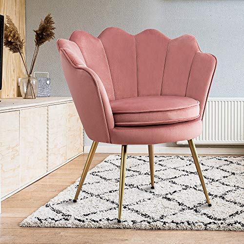 Modern Upholstered Accent Chair Pink, Living Room Leisure Velvet Accent Chair with Golden Metal Legs, Makeup Vanity…