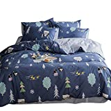 Cotton Cartoon Fox Duck Print Boys Girls Twin Bedding Sets for Kids Bed Toddler Children Duvet Cover Set Blue, Cute Soft Hypoallergenic Lightweight 3 Pieces Teen Trees Home Textile Bedding, Style 6