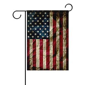 deyya Vintage Memorial día independencia EE. UU. Bandera poliéster banderines de jardín 12X 18inch, verano patriótica independencia 4th bienvenida bandera de decoración para aniversario home al aire libre jardín