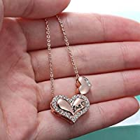 Sumanee Jewelry Double Heart Crystal Romantic Women Fashion Rose Gold Necklace 18K Rose Gold Plated