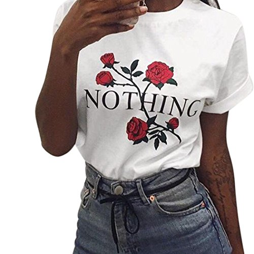 Big Promotion! Women Shirts WEUIE Nothing Rose Printing Summer Loose Tops Short-Sleeved Blouse T Shirt (Size L/ US 8, White) (Gts 8 Boots)