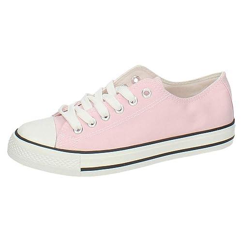 DEMAX S122 Zapatillas DE Lona Mujer Zapatillas Rosa 36