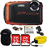 Fujifilm FinePix XP90 Shock & Waterproof Wi-Fi Digital Camera (Orange) in White Promotional Packaging (Non-Retail) with 64GB Card + Battery & Charger + Floating Strap + Memory Card Reader + More!