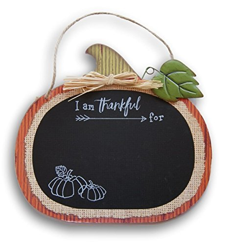 Decorative Pumpkin I Am Thankful For Chalkboard Sign Message Board with Jute Hanging String