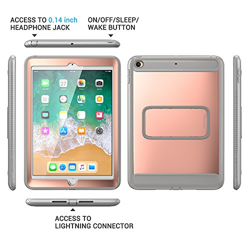 New iPad 2017 9.7 inch Case, YOUMAKER Heavy Duty Kickstand Shockproof Protective Case Cover for Apple New iPad 9.7 inch (2017 Version) with Built-in Screen Protector (Rose Gold/Gray) by YOUMAKER (Image #4)