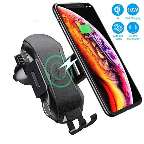 Wireless Car Charger Mount, XSHNUO Automatic Clamping 7.5W /10W Fast Charging Car Phone Holder, Windshield Dashboard Air Vent Compatible with Samsung Galaxy S10, iPhone Xs (Black-Auto Clamping)