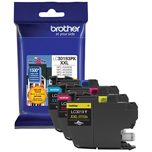 (Brother Printer LC30193PK Super High Yield XXL 3 Pack Ink Cartridges- 1 Ea: Cyan/Magenta/Yellow Ink)