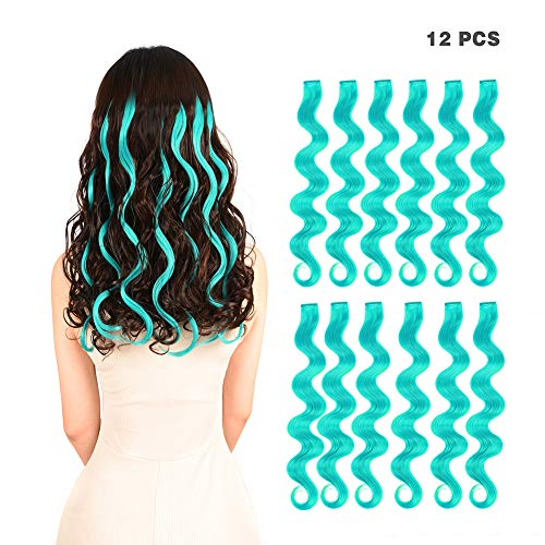12 Pieces Party Highlights Clip in Colored Hair Extensions for Kids Girls Colorful Hair Extensions 22 inches Curly Wavy Synthetic Hairpieces Multi-Colors Teal Blue Hair -