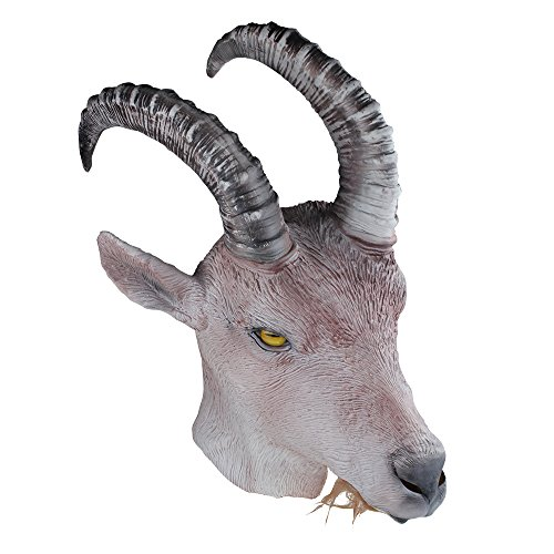 COMLZD Halloween Latex Full Overhead Masks Rubber Goat Antelope Animal Head Masks Party Costumes