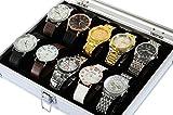 America Phoenix Large 12 Grids Watch Display Jewelry Case Box Storage Holder Leather and Aluminius