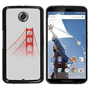 Paccase / SLIM PC / Aliminium Casa Carcasa Funda Case Cover para - San Fransisco Bridge Red Usa Mist Fog Nature - Motorola NEXUS 6 / X / Moto X Pro